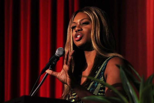 Emmy-nominated actress Laverne Cox speaks to a full auditorium Sept. 16 at OSU's Fawcett Center.  Credit: Ritika Shah / News director for Lantern TV