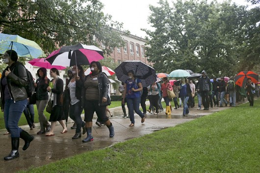 People march in support of professor Steven Salaita through the University of Illinois quad on Sept. 9 in Urbana, Ill. Credit: Courtesy of MCT