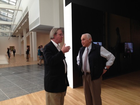 "Les Wexner and curator Robert Storr talk at the opening of ""Transfigurations."" Credit: Daniel Bendtsen / Asst. arts editor"