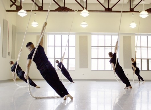 Dancers use ropes to perform choreographer Stephan Koplowitz's routine entitled, 'The Past is Up' at the Sullivant Hall Grand Opening celebration Sept. 20 at Sullivant Hall. Credit: Ogonna Ononye / Lantern photographer