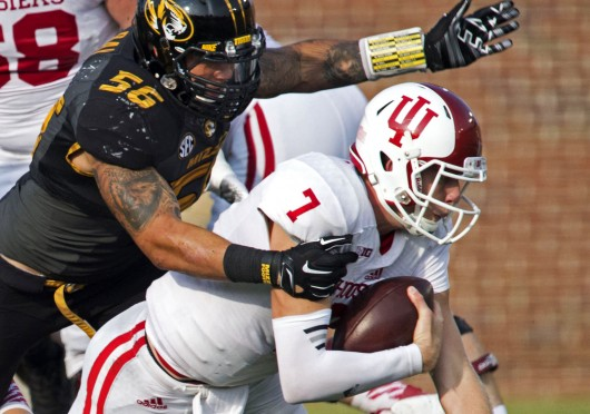 Missouri defensive lineman Shane Ray (56) tackles Indiana quarterback Nate Sudfeld (7) in the third quarter at Faurot Field in Columbia, Mo., on Sept. 20. Indiana won, 31-27. Credit: Courtesy of MCT