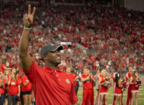 Former OSU quarterback Troy Smith stands before the crowd during the Ohio State Athletics Hall of Fame ceremony at halftime of a game against Cincinnati on Sept. 27 at Ohio Stadium. OSU won, 50-28. Credit: Chelsea Spears / Multimedia editor