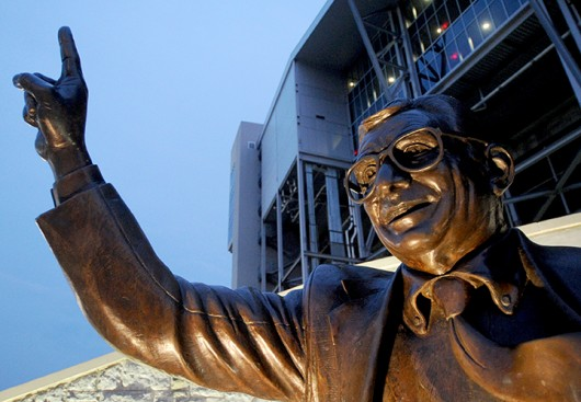 Joe Paterno's statue outside of Beaver Stadium on Thursday, July 12, 2012, in State College, Pennsylvania. A news conference addressed the results of Louis Freeh's investigation into the Jerry Sandusky scandal on Thursday at the Scranton Hilton in Scranton, Pennsylvania.  Credit: Courtesy of MCT