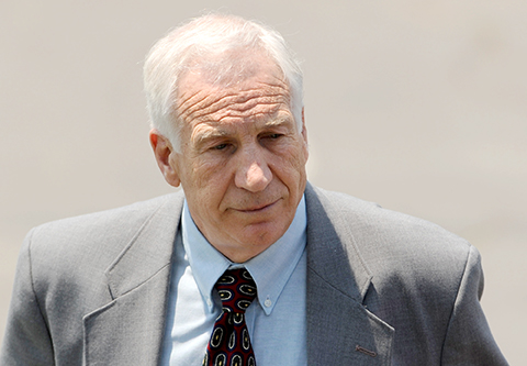 Jerry Sandusky leaves the courthouse Thursday, June 21, 2012, following the closing arguments in his sexual abuse trial, at the Centre County Courthouse, in Bellefonte, Pennsylvania. Credit: Courtesy of MCT