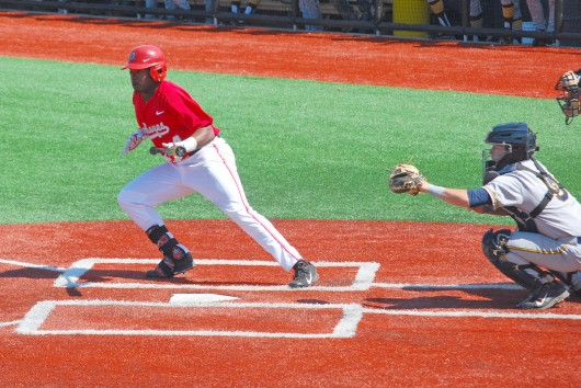 Then-freshman outfielder Ronnie Dawson starts his run towards first base during a game against Murray State on April 19 at Bill Davis Stadium. OSU lost, 7-5. Credit: Tim Moody / Sports editor