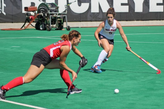OSU senior midfielder Kaitlyn Wagner (13) lunges for the ball during a game against Ball State on Sept. 14 at Buckeye Varsity Field. OSU won, 3-2, in overtime. Credit: Melissa Prax / Lantern photographer