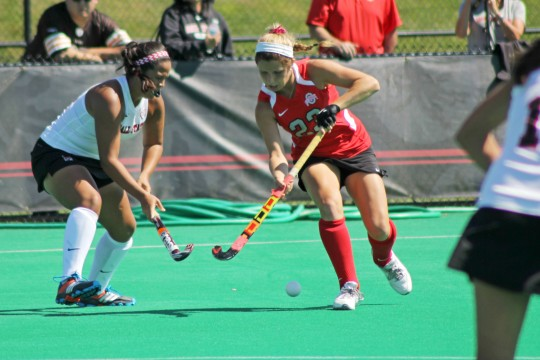 OSU freshman forward Maddy Humphrey (23) goes for the ball during a game against Ball State on Sept. 14 at Buckeye Varsity Field. OSU won, 3-2, in overtime. Credit: Melissa Prax / Lantern photographer