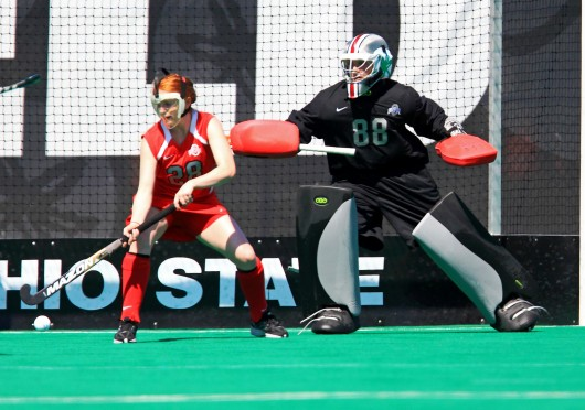 Freshman goalkeeper Liz Tamburro (88) scans the field from goal during her collegiate debut against Syracuse on Aug. 29 in Columbus. OSU lost, 3-2, in overtime Credit: Courtesy of OSU athletics