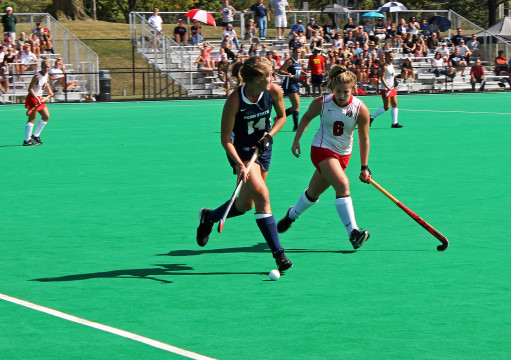 Sophomore forward Brooke Hiltz (6) marks an opposing player during a game against Penn State on Sept. 28 at Buckeye Varsity Field. OSU lost, 4-3. Credit: Grant Miller / Copy chief