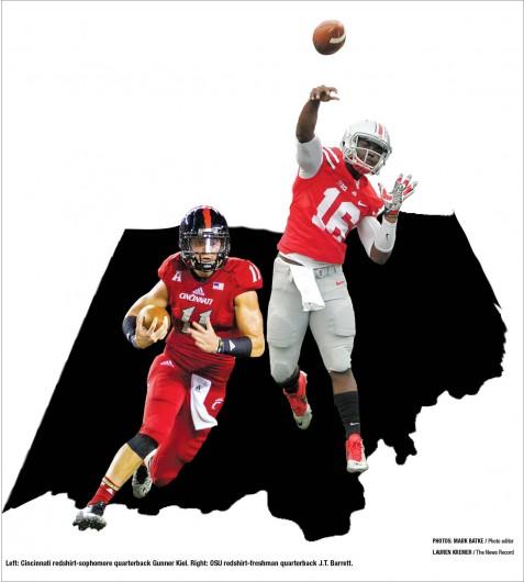 Left: Cincinnati redshirt-sophomore quarterback Gunner Kiel. Credit: Lauren Kremer / The News Record  Right: OSU redshirt-freshman quarterback J.T. Barrett. Credit: Mark Batke / Photo editor