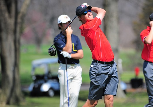 Then-redshirt-junior Logan Jones holds his follow-through after a tee shot at the Robert Kepler Intercollegiate on April 12 in Columbus. OSU placed 6th on the first day of play and 5th after the second round. Credit: Courtesy of OSU athletics