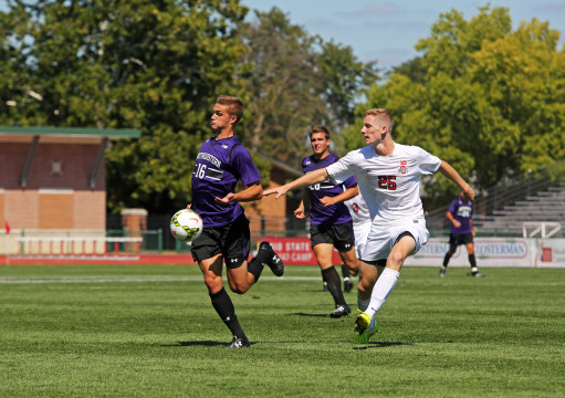 OSU sophomore defender Austin Bergstrom (25) chases the ball during a game against Northwestern on Sept. 14 at Jesse Owens Memorial Stadium. OSU won, 2-0. Credit: Muyao Shen / Lantern photographer