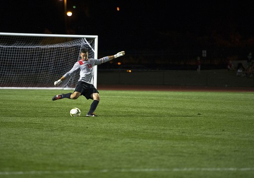 OSU redshirt-senior goalkeeper Alex Ivanov winds up to kick the ball during a game against Akron Sept. 24 at Jesse Owens Memorial Stadium. OSU lost 3-1 Credit: Ben Jackson / For The Lantern