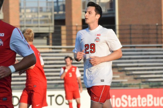Junior forward Joao Ehlers jogs on the field during an intrasquad scrimmage on Aug. 13 in Columbus. Ehlers, a Sao Paulo, Brazil, native, transferred to OSU this fall. Credit: Courtesy of OSU athletics