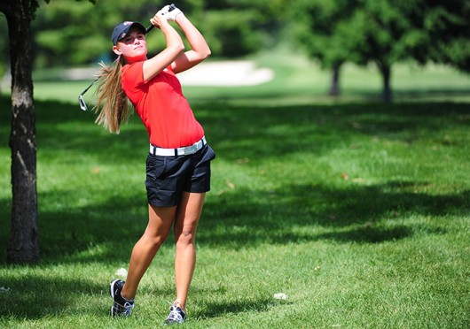 Then-freshman Jessica Porvasnik holds her follow-through after a shot during fall practice in 2013 at the OSU Golf Club. Porvasnik played in the 2014 U.S. Women's Open after being named Big Ten Player of the Year as a freshman. Credit: Courtesy of OSU athletics