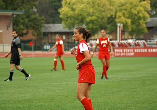 Then-junior midfielder Ellyn Gruber (5) watches her teammates during a game against Purdue Sept. 29 at Jesse Owens Memorial Stadium. OSU lost, 1-0. Credit: Michele Theodore / Managing editor for content
