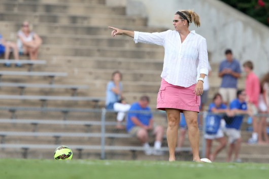 Women's soccer coach Lori Walker, who is in her 18th season with the Buckeyes, picked up her 200th OSU win Sept. 12 against Indiana. Walker is winningest coach in program history. Credit: Courtesy of OSU athletics