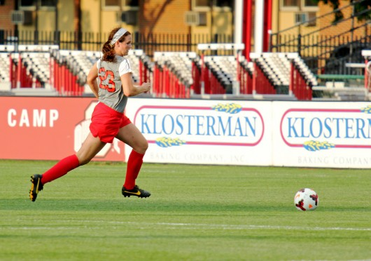 Then-freshman defender Taylor Schissler dribbles the ball during a game against Pittsburgh on Aug. 28, 2013, in Columbus. OSU won, 2-0. Credit: Lantern file photo
