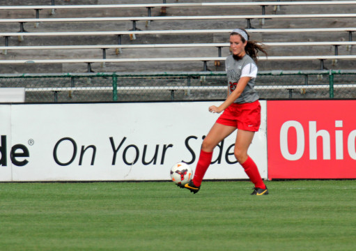 Then-freshman defender Taylor Schissler makes a play on the ball in a game against Pittsburgh Aug. 28, 2013. OSU won 2-0. Credit: Lantern file photo