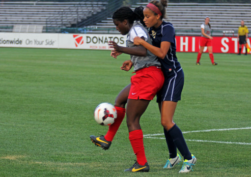 OSU then-freshman forward Nichelle Prince (left) makes a play on the ball in a game against Pittsburgh at Jesse Owens Memorial Stadium  Aug. 28, 2013. OSU won 2-0.  Credit: Lantern file photo
