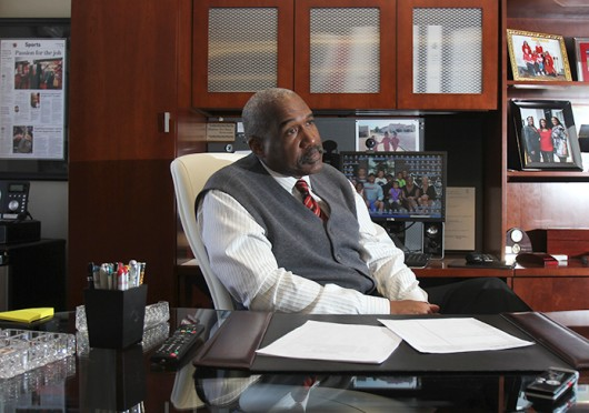 OSU vice president and athletic director Gene Smith in an interview with The Lantern on Jan. 29. Smith said in July that while he doesn't support treating student-athletes as employees, he is in favor of covering the cost of attendance beyond just tuition. Credit: Lantern file photo