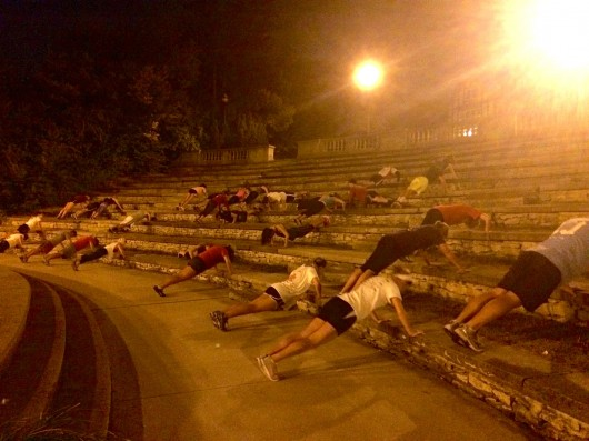 Members of GRIND club work out at Browning Amphitheater Sept. 29. Credit: Audrey DuVall / Lantern reporter