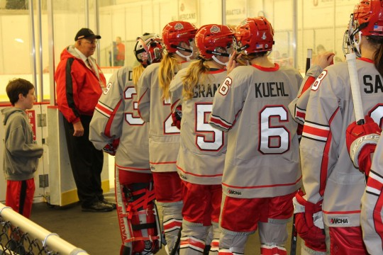 The OSU women's ice hockey team prepares to take the ice prior to an exhibition game against Western Ontario at the Ohio State Ice Rink. OSU tied 2-2. Credit: Grant Miller / Copy Chief