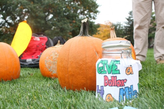 OSU student organization G.I.V.E. held a pumpkin sale Oct. 21 on The Oval to raise money in support of global student volunteer opportunities affecting communities in Nicaragua, Tanzania and Thailand.  Credit: Leisa DeCarlo / Lantern reporter