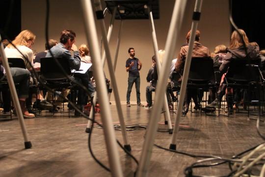 Roger Beebe gives a talk at the Wexner Center Oct. 8. Credit: Sarah Mikati / Lantern Mikati