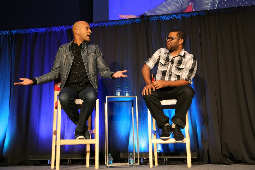 Comedians Keegan-Michael Key (left) and Jordan Peele of the Comedy Central sketch comedy show, 'Key & Peele,' talk to OSU students Oct. 10 at the Archie Griffin Ballroom. Credit: Mark Batke / Photo editor
