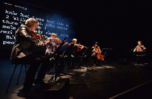The Kronos Quartet and Laurie Anderson perform 'Landfall' on June 28, 2013 at Barbican Centre in London. Credit: Photo by Mark Allan