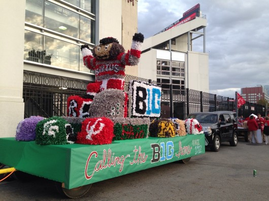 Alpha Tau Zeta — also known as Farm House Fraternity — won the float competition at OSU's 102nd Home Coming Parade Friday. Credit: Hayley Beck / Lantern reporter