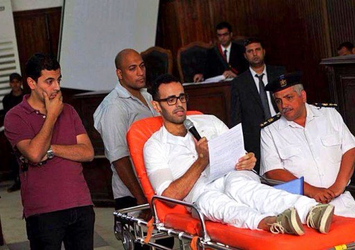 Mohamed Soltan appeared in court on May 11, 2014 and gave a speech defending his right to a fair trial and decision to protest through a hunger strike. In this photo, Soltan was on day 105 of his hunger strike and had lost 99 pounds from his original weight.