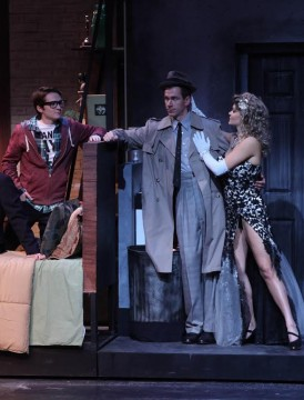 Sean Felder (left) as Stine, Brian Hupp as Stone and Hannah Fidler as Bobbi all star in 'City of Angels,' set to open Thursday, Oct. 30 in the Thurber Theatre. Credit: Courtesy of OSU.
