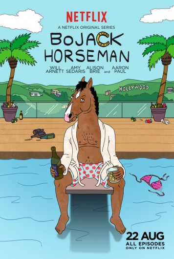 The first season of 'Bojack Horseman,' starring Will Arnett, Aaron Paul, Amy Sedaris, and Alison Brie, is available for streaming on Netflix. Credit: Promotional poster for 'Bojack Horseman'
