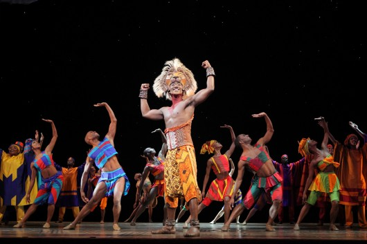 Jelani Remy as Simba and the ensemble performs 'He Lives in You.' Credit: Photo by Joan Marcus