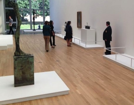 Visitors look at Giacometti's work at the Wexner Center for the Arts while a security guard looks on. Credit: Daniel Bendtsen / Asst. arts editor