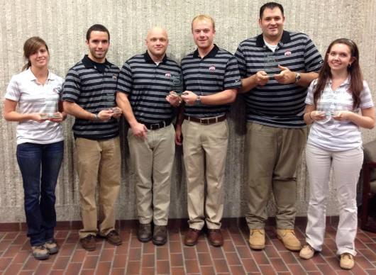Last year's Associated Schools of Construction competition team from OSU stands after the competition in Chicago. Samantha Hesketh (left), Trenton Hiltbrand, Shane Mouser, Derek Goettemoeller, DuWayne Baird and Nicole Cutlip of the OSU Associated Schools of Construction competition team pose.