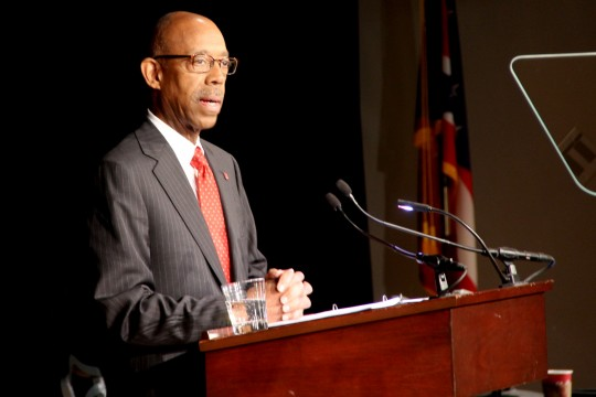 President Michael Drake focuses on positives in 1st university address