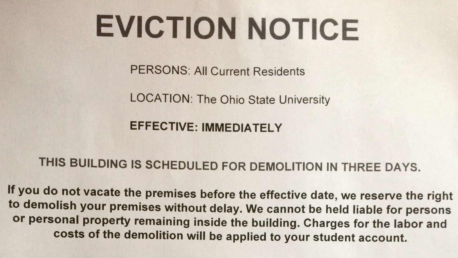 Fake Off Campus Eviction Notices Aim To Raise Awareness