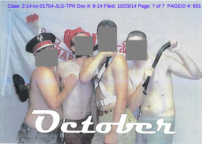 A photo from a 2007 calendar university officials found in the office of former OSU Marching Band director Jonathan Waters, depicting semi-nude male band members in seductive poses. Credit: Court records