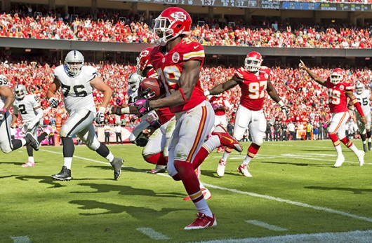 Kansas City Chiefs safety Husain Abdullah (39) returns an interception 44 yards for a touchdown against the Oakland Raiders at Arrowhead Stadium in Kansas City, Mo., on Oct. 13, 2013. The Chiefs defeated the Raiders, 24-7. Credit: Courtesy of MCT