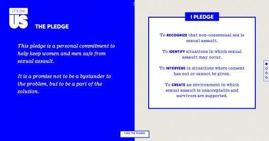 The pledge on the 'It's On Us' campaign website Credit: Screenshot of 'It's On Us' website