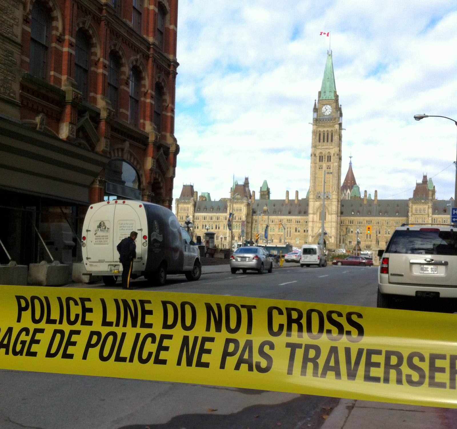 Police block off access to Parliament Hill after shots were fired at Canada's Parliament in Ottawa on Oct. 22. Credit: Courtesy of TNS