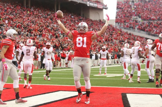 Former OSU tight end Nick Vannett (81) celebrates after one of his 2 1st-half touchdowns during a game against Rutgers on Oct. 18 at Ohio Stadium. Credit: Mark Batke / Photo editor