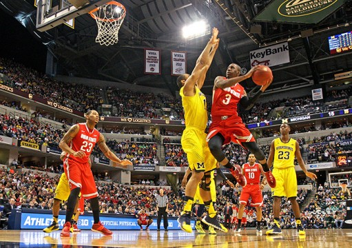 Then-junior guard Shannon Scott (3) drives toward the basket during a semifinal game of the Big Ten Tournament against Michigan on March 15 at Bankers Life Fieldhouse . OSU lost, 72-69. Credit: Lantern file photo