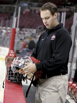 Tim Adams is in the midst of his 16th season as the full-time equipment manager for the OSU men's hockey team, and 18th with the program overall. Credit: Courtesy of OSU athletics
