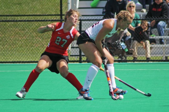 Junior back Emma Royce (27) plays defense during a game against Ball State on Sept. 14 at Buckeye Varsity Field. OSU won, 3-2, in overtime.  Credit: Melissa Prax / Lantern photographer