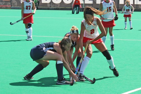 Sophomore midfielder Paige Hamilton (2) fights for the ball against Penn State on Sept. 28 at Buckeye Varsity Field. OSU lost, 4-3. Credit: Grant Miller / Copy chief