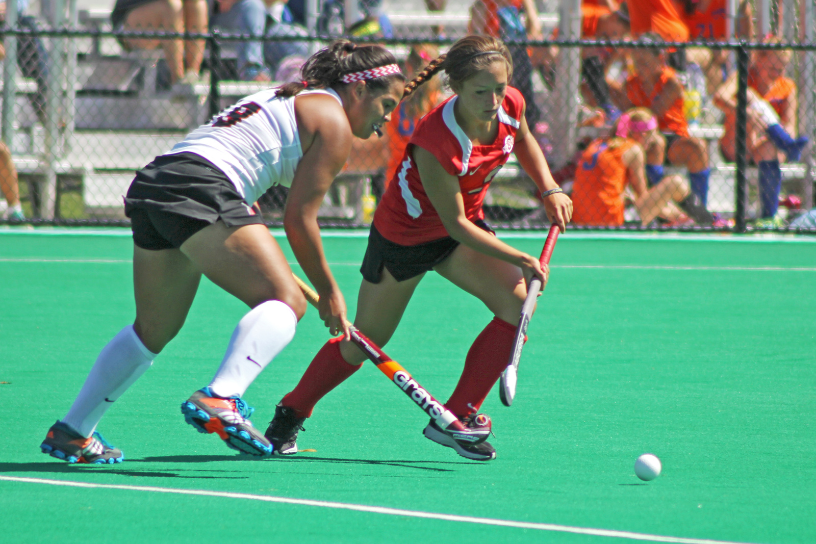 Junior forward Peanut Johnson (right) fights for posession of the ball during a game against Ball State Sept. 14 at Buckeye Varsity Field. OSU won, 3-2 in overtime. Credit: Melissa Prax / Lantern photographer